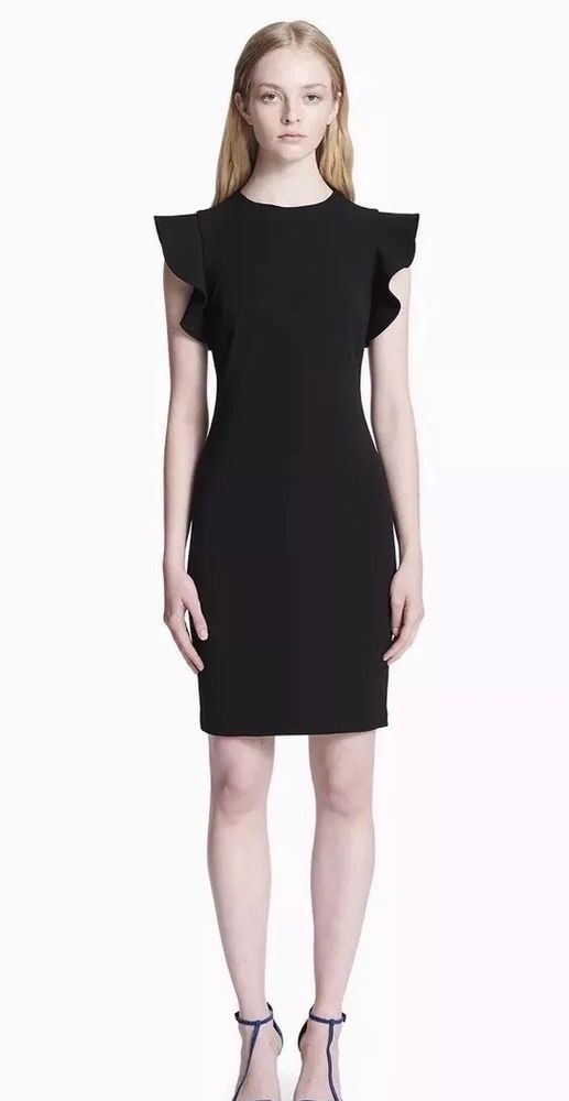Calvin Klein Ruffle Cap Sleeve Sheath Dress Size 12 In Black Ebay