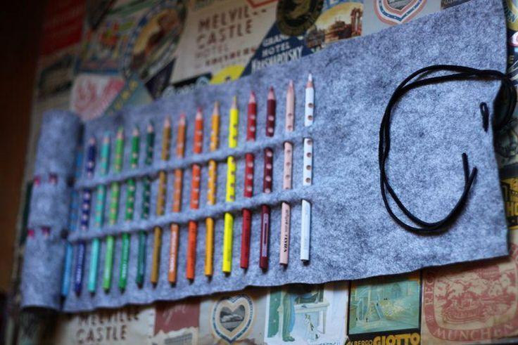 Diy back to school : DIY No-Sew Colored Pencil Roll