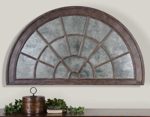 Extra Large Antiqued Mirrored Arch Wall Plaque Overdoor By