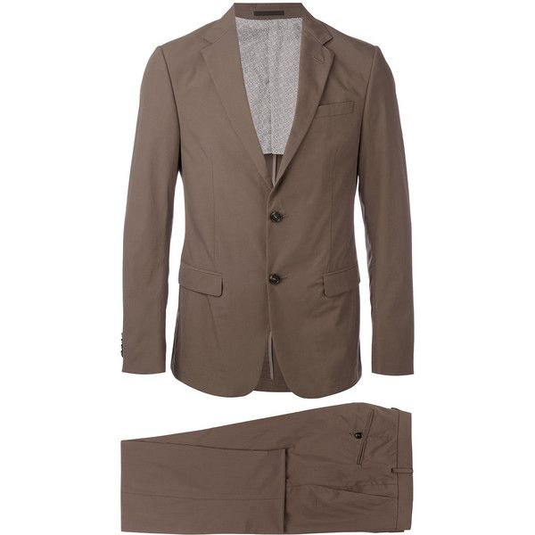 Z Zegna Two-piece Suit ($888) ❤ liked on Polyvore featuring men's fashion, men's clothing, men's suits, mens gray suit, mens grey suits, men's 2 piece suits, mens two piece suits and mens cotton suit