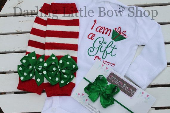 Baby Girl Christmas Outfit -- onesie, ruffle bow headband and leg warmers -- I am a Gift, Psalm 127:3-- red and emerald green on Etsy, $41.95