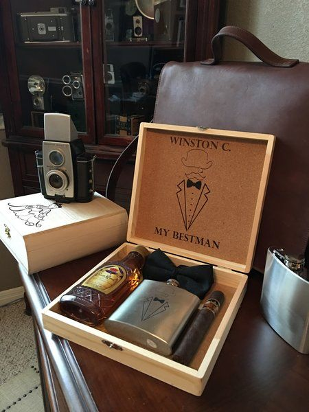 Custom Groomsmen Gift box with Custom Flask