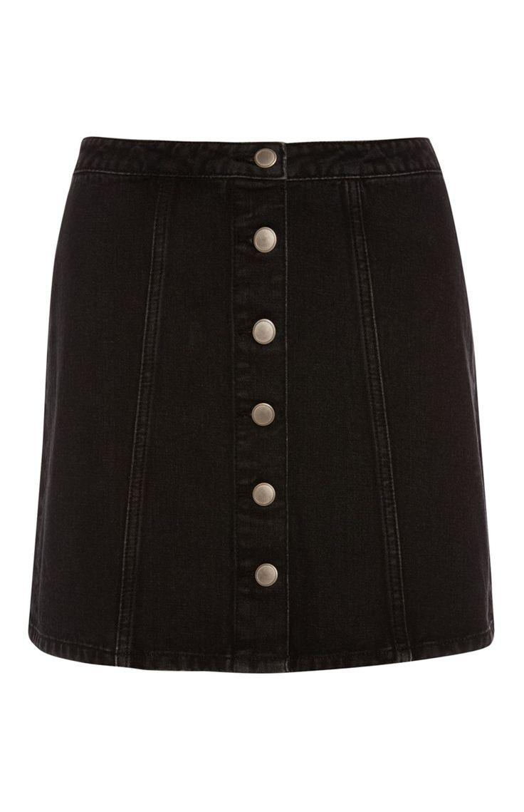 Primark - Zwarte denim rok met knopen