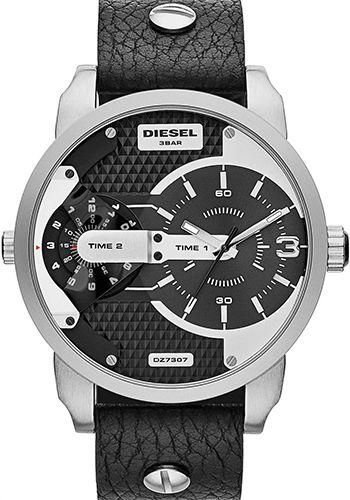 Montre Homme Diesel - Qartz Analogique - DZ7307 - Cadran Acier inoxydable Argent - Bracelet Cuir Noir - Date