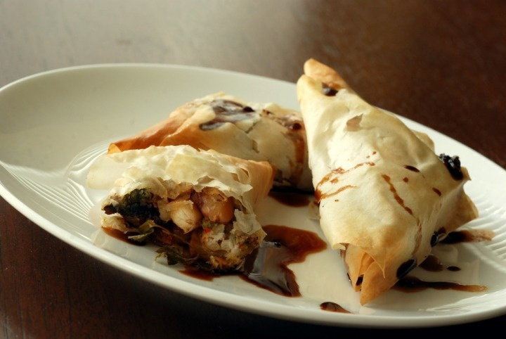 moroccan vegetable phyllo rolls with maple balsamic sauce