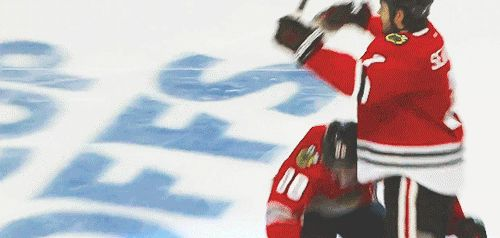 4/21/15 WCQF Blackhawks vs. Predators Game 4: Patrick Kane (5′10″, 177 lbs) tries to lift up Brent Seabrook (6′3″, 220 lbs) after Seabrook's GWG with limited success