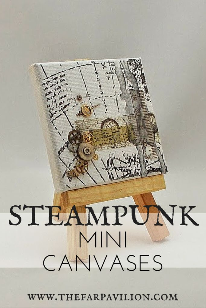 Steampunk mini canvas tutorial. Who else loves watch gears, maps and old paper?