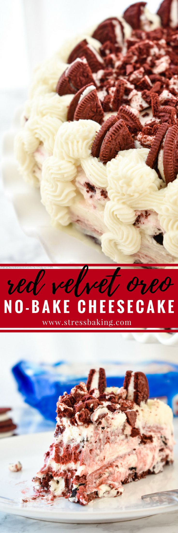 Red Velvet Oreo No-Bake Cheesecake: Supremely rich and creamy cheesecake filled with red velvet and Oreo flavors atop a Red Velvet Oreo crust. No baking required!