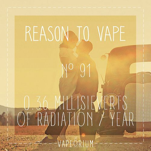 smoking cigarettes exposes you to 0.36 millisieverts of radiation per year!