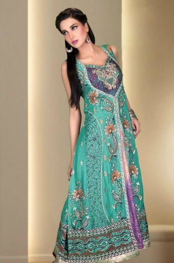 Sea Green/Purple Embroided Ankle Length Front Open Special Occasion Dress