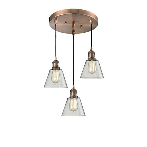 Innovations Lighting 211 3 Ac G62 Small Cone Antique Copper Three Light Pendant With Clear Cone Glas Industrial Pendant Lights Metal Wall Lamp Pendant Lighting