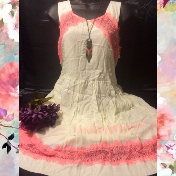1DAYSALE!Free People dress Gorgeous Free People dress lined beach dress. Color: cream with coral accents. Fully lined with 100% cotton. Exterior layer is 100% rayon. No flaws, whatsoever. Reasonable offers welcome through offer button. ❌NO trades❌ Free People Dresses Midi