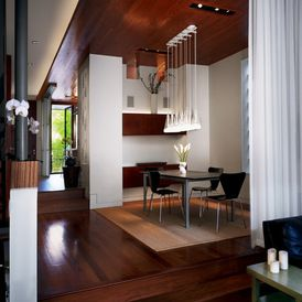 contemporary dining room - use sheer curtains as a divider wall