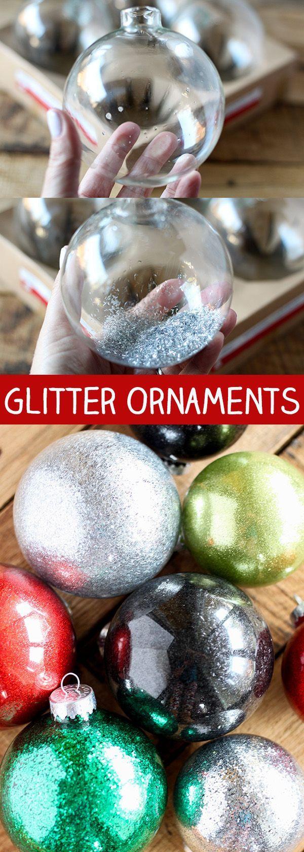 DIY Glitter Ornaments for Christmas - easy Christmas craft!