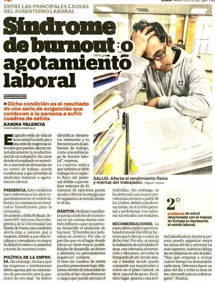 Síndrome de #burnout o #agotamiento #laboral  #burnout, entre las principales causas del ausentismo laboral. Artículo en el Diario Correo. 13/09/2016