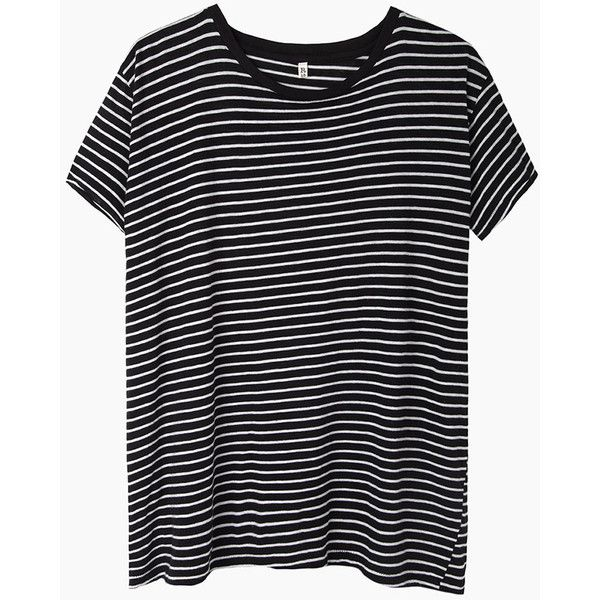 R13 Nancy Striped Boy Tee (€150) ❤ liked on Polyvore featuring tops, t-shirts, shirts, tees, crewneck t-shirt, striped t shirt, black white stripe shirt, striped shirt and short sleeve shirts