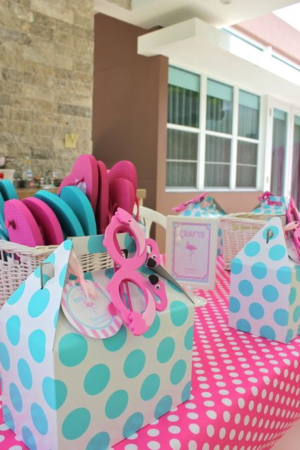 Favors at a Flamingo Pool Party #flamingo #poolparty @Tiffany Smith-Miller this made me think of you