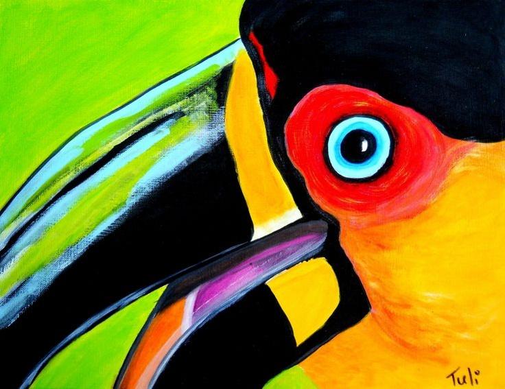 Idee: Teken of schilder close-up van kleurrijke dieren of planten