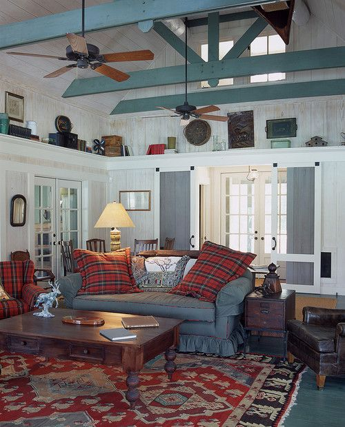 Blue beams in the Water's Edge lake house, GA.  Historical Concepts.