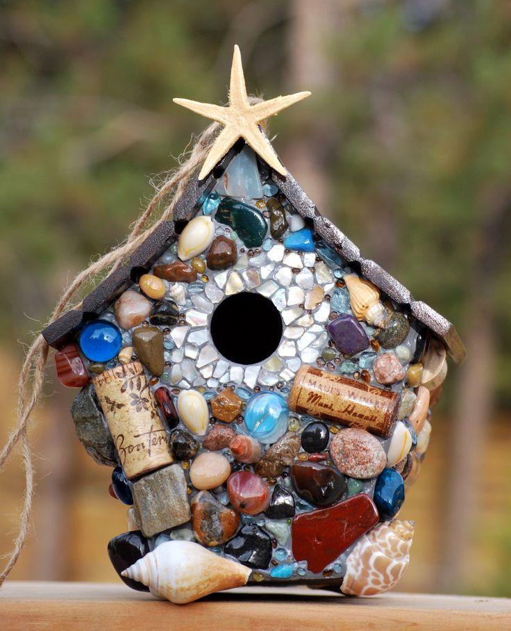 mosaic+birdhouses | Tropical Mosaic Birdhouse by WinestoneBirdhouses on Etsy