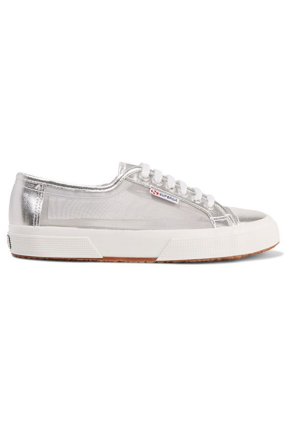 SUPERGA® Metallic mesh and cracked-leather sneakers