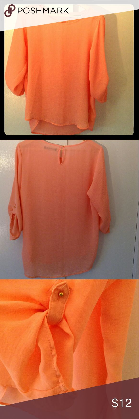 Blouse (new) Beautiful salmon flowing blouse, 100% polyester Primark  Tops Blouses