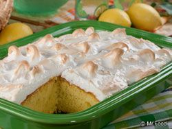 """If you love Lemon Meringue Pie, then this recipe is sure to """"take the cake!"""" Yes, we put a yummy meringue topping on a lemon sheet cake, sure to surprise everyone when you divvy up slices of your homemade Lemon Meringue Cake.   Read more at http://www.mrfood.com/Cakes/Lemon-Meringue-Cake#d9iDSY7OKGgie40l.99"""