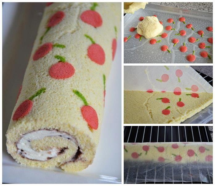 Surprise your guests on the next tea party. This is an unique idea for an amazing decorated Swiss roll.