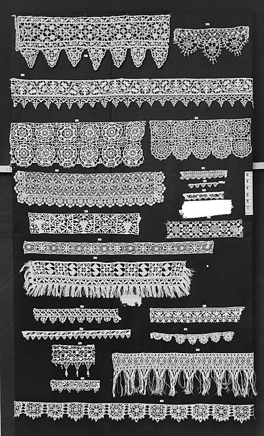 Multiple Strips of needle lace.  Italian late 16C.  Hopefully I can find closeups of these.