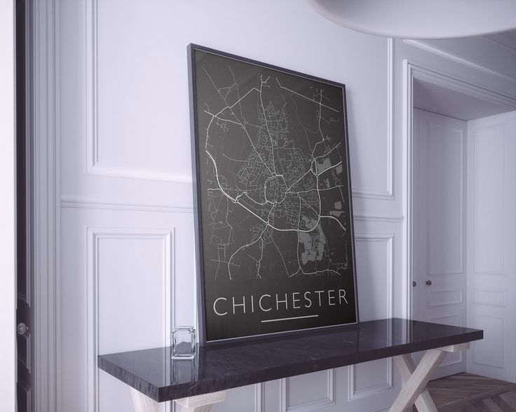 Chichester Map Print. Mono Print. Custom Map Art Prints available. Check out www.mappedmoments.com  #prints #wall #followme #wallart #follow #customart #map #maps #topography #posters #newapartment