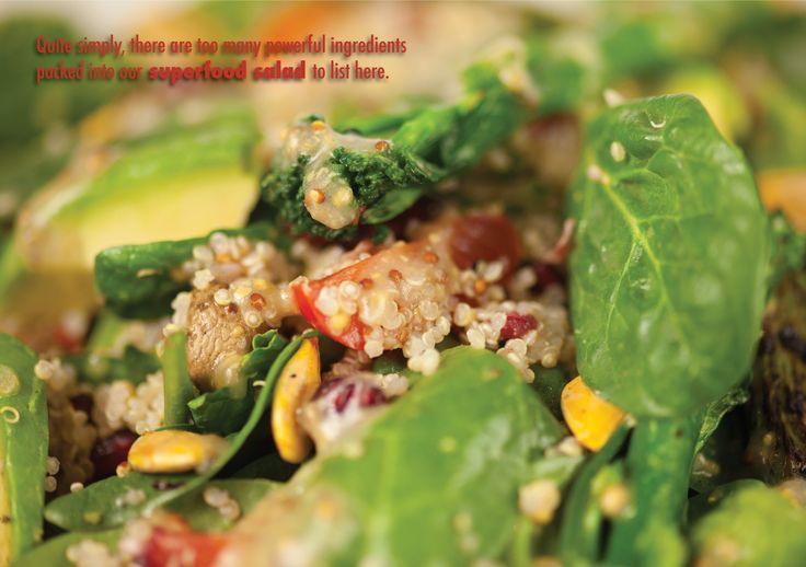 Superfood Salad @ Blue Boar, Witney Baby spinach, quinoa, pumpkin seeds, avocado, pomegranate seeds, grilled broccoli and asparagus spears, Marzanino tomatoes, sautéed mushrooms, fresh herbs and a cold-pressed rapeseed oil and mustard dressing