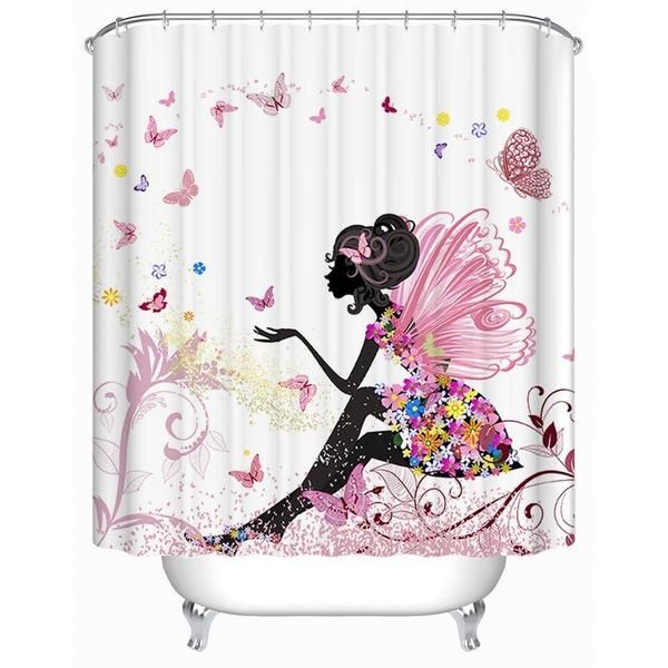 Floral Fairy Girl Shower Curtain In 2020 Butterfly Shower
