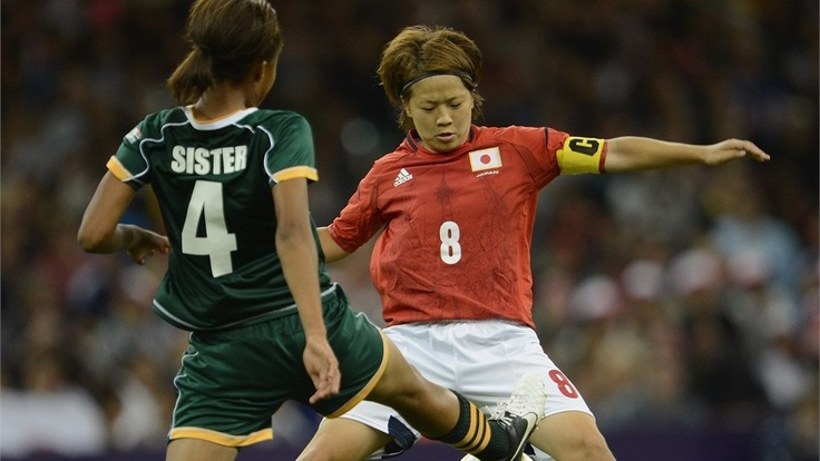 CARDIFF, WALES - JULY 31:  Aya Miyama of Japan is challenged by Amanda Sister of South Africa during the Women's Football first round Group F Match between Japan and South Africa on Day 4 of the London 2012 Olympic Games at Millennium Stadium on July 31, 2012 in Cardiff, Wales. (Photo by Stuart Franklin - FIFA/FIFA via Getty Images) *** Local Caption *** Amanda Sister; Aya Miyama