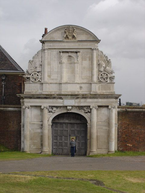 Tilbury Fort Gatehouse Essex England is on the north, Essex, bank of the River Thames in England and was built to defend London from attack from the sea, particularly during the Spanish Armada and the Anglo-Dutch Wars.