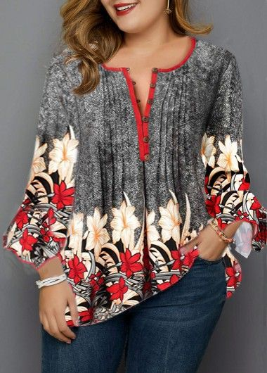 Flare Sleeve Flower Print Plus Size Blouse | Rosewe.com - USD $29.31 1
