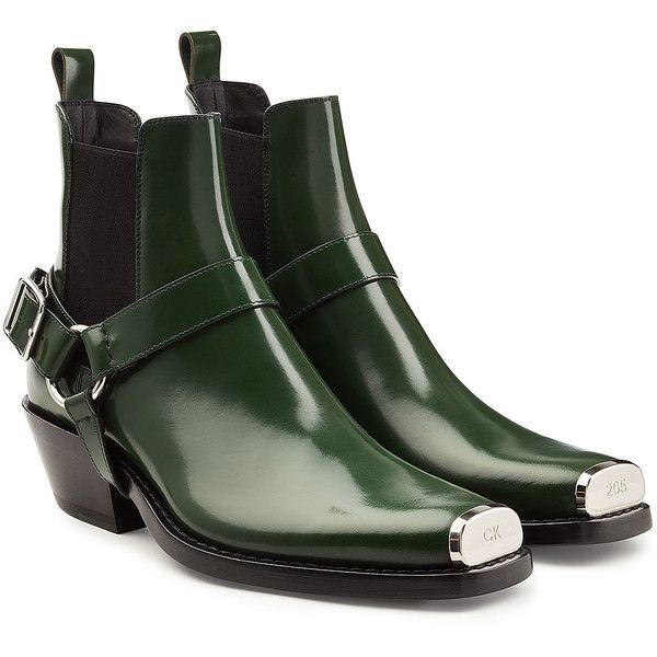 CALVIN KLEIN 205W39NYC Western Harness Leather Ankle Boots (59,825 THB) ❤ liked on Polyvore featuring men's fashion, men's shoes, men's boots, green, mens western shoes, mens green shoes, mens western ankle boots, mens leather ankle boots and mens goodyear welted shoes