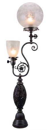 Pierced Brass Gas & Electric Newel Post Light Circa 1890 (299-FGE-NW)