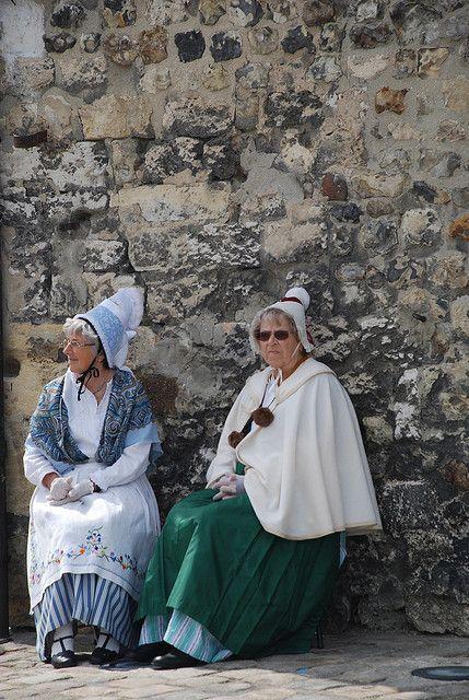 Ladies in traditional Normandy dress in Honfleur