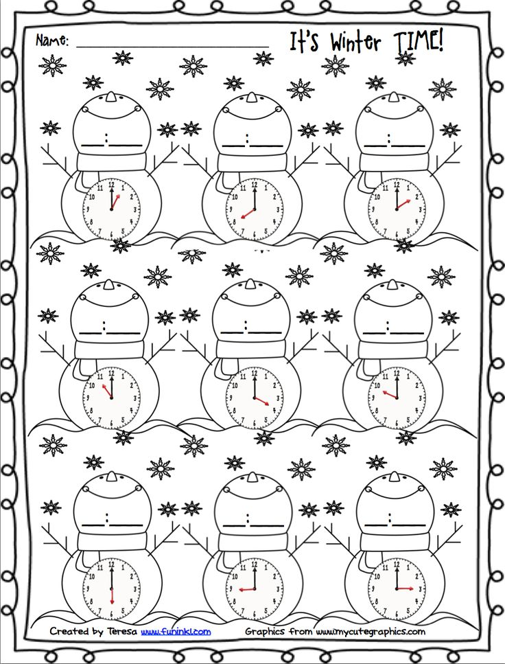 FREE winter printables for telling time.
