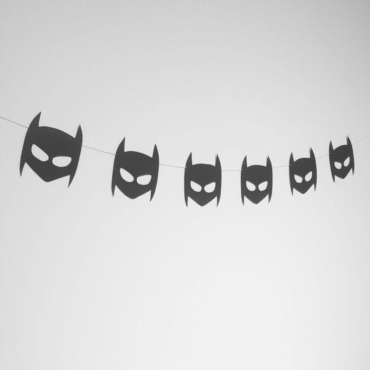 Boys batman mask garland - superhero banner by LittleGlitterCo on Etsy https://www.etsy.com/listing/250265449/boys-batman-mask-garland-superhero