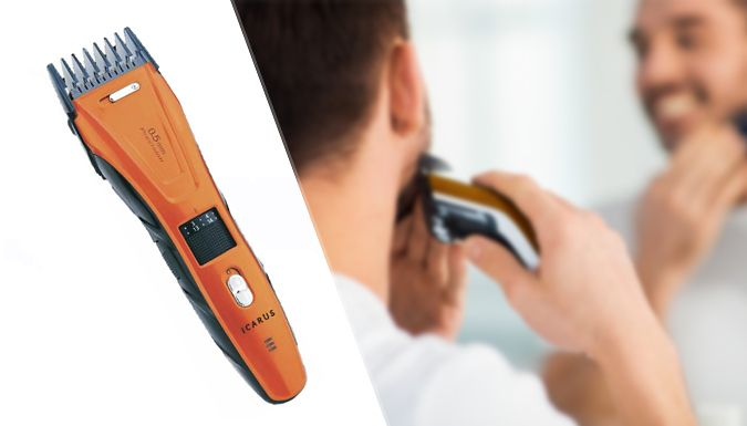 Icarus Hair & Beard Clipper Tame your mane with an Icarus Hair  and  Beard Clipper      Men's clipper with stainless steel blades      Includes two adjustable combs; 1-10mm and 11-20mm      Comes with cleaning brush, oil and user manual      Mains or rechargeable battery-operated      Battery charge time: 2 hours, battery life: 50 minutes      Save 47% with an Icarus Hair  and  Beard Clipper for 24.99 pound instead of 47.32 pound BUY NOW for just GBP24.99
