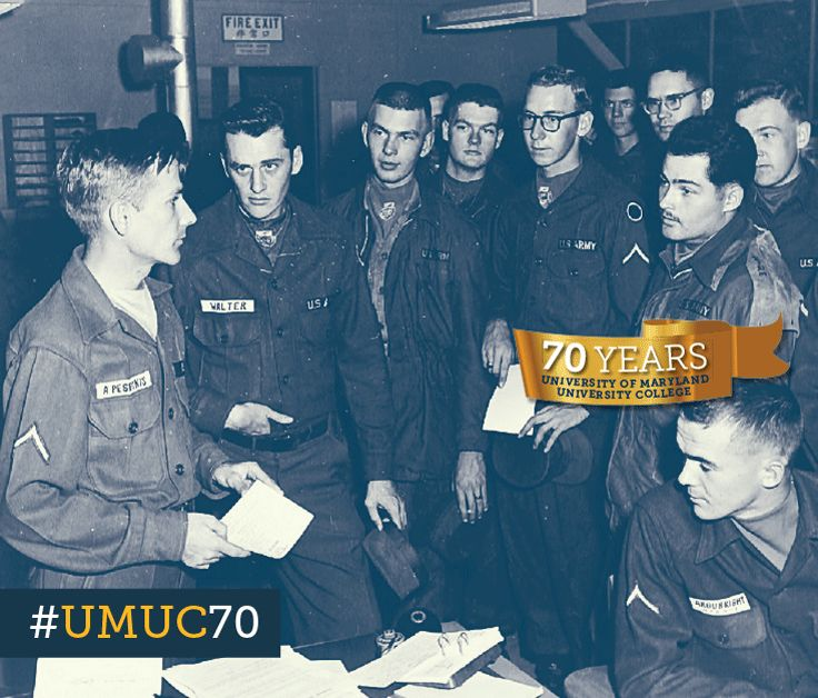 #ThrowbackThursday to 1960 with soldiers registering for classes at Camp Red Cloud, South Korea. #umuc70