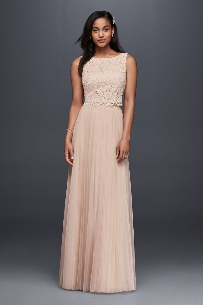 Lace and Mesh Two-Piece Wedding Dress - Fawn (Green), 12