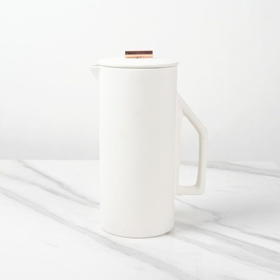 8 Cup Ceramic White French Press