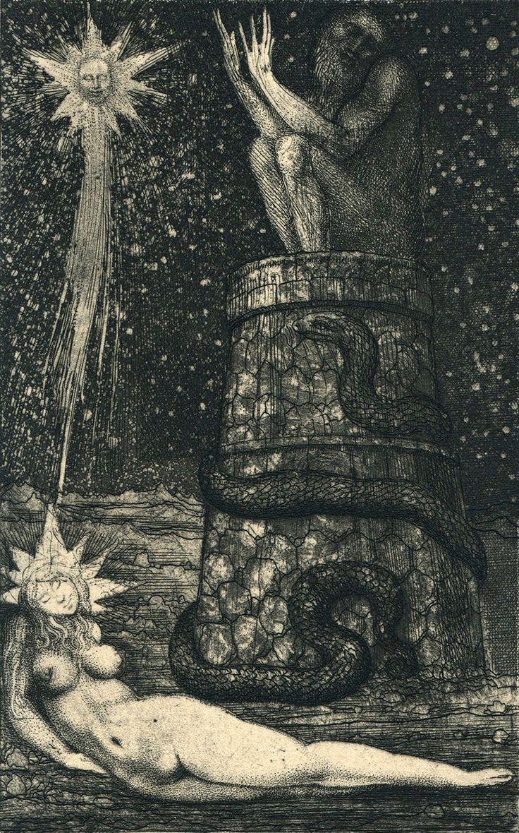 Ernst Fuchs, Eins ist Nah und Fern: der Stern (One is local and remote: the Star) Etching for The Symbolism of the Dream, 1968