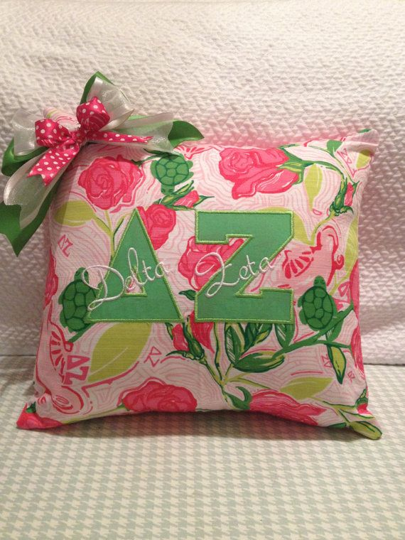 Delta Zeta Lilly Pulitzer Sorority fabric pillow cover.