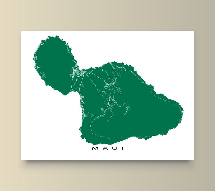 Maui, Hawaii map art print. Available in 20 different colours.