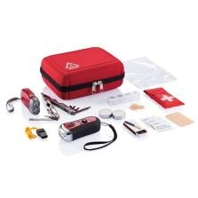 SOS zip pouch contains the dynamo torch, pliers with 15 functions, radio with headphones, transparent A5 pvc document bag with zip closure, a first aid kit in pouch tissues (conforms to EN 13485:2003), 2 pcs tea candles in white, whistle and wind resistant primers for camping.