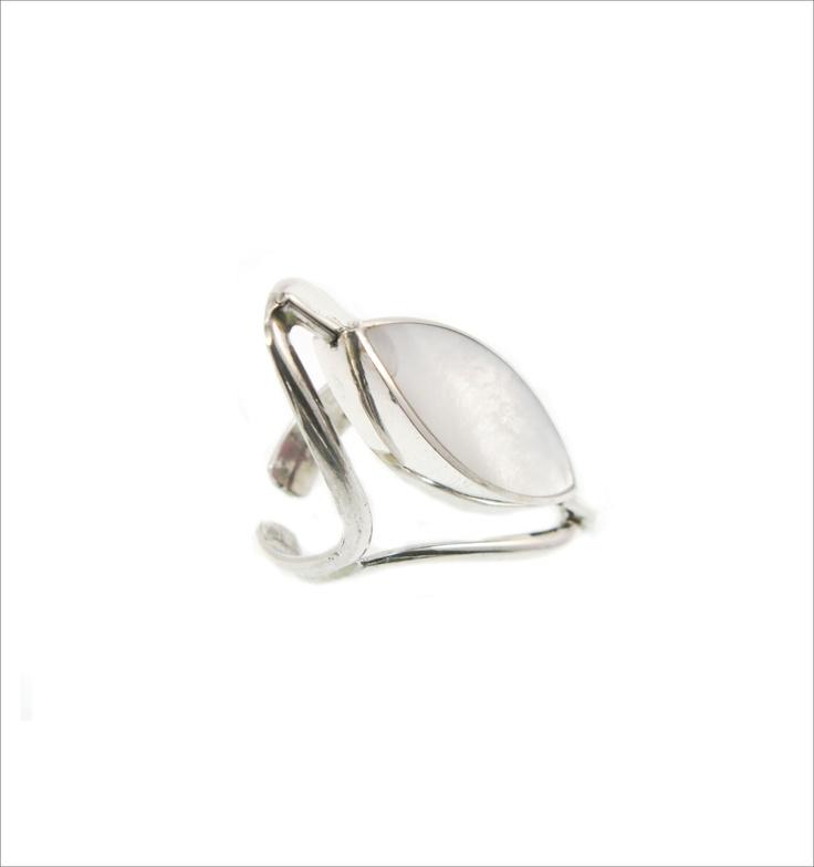 SAMI  Anillo reversible hecho a mano, en plata 950 , regulable, con incrustaciones de piedras semipreciosas