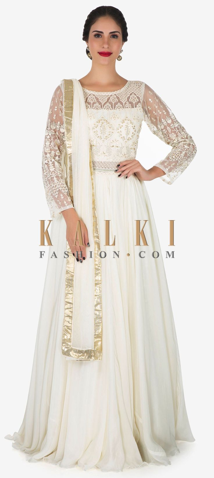 Buy Online from the link below. We ship worldwide (Free Shipping over US$100)  Click Anywhere to Tag White anarkali gown in georgette adorn in thread and sequin embroidery work only on Kalki You'll look straight out of the fairy tale in this white anarkali gown. The gown is featured in georgette fabric. It is embellished beautifully in thread and sequin embroidered work that looks breathtaking. Set together with a bottom in lycra and a dupatta in net.